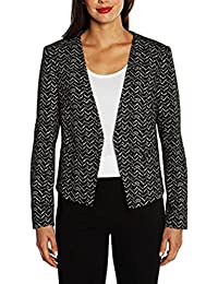 Ladies Blazer With Stretch (Black & White, Large)