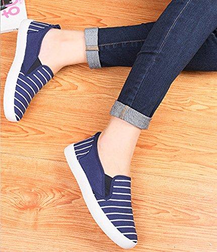 Bleu Aisun On En Mode Femme Toile Rayures Sneakers Slip n8Uxr8qwzO