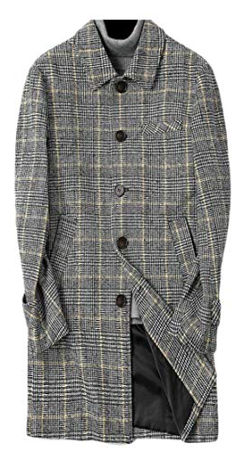 (P&E Men Slim Fit Button Pocket Plaid Overcoat Trench Wool Blend Coat Jacket Yellow S)
