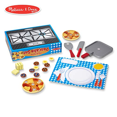 (Melissa & Doug Flip and Serve Pancake Set (19 pcs) - Wooden Breakfast Play Food)