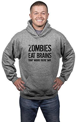 Unisex Zombies Eat Brains So You're Safe Hoodie Funny Undead Outbreak Sweatshirt (Heather Grey) - M -