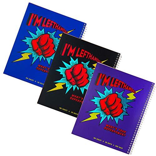 Left-handedSuper Power Wide Ruled Metallic Cover Notebook, Set of 3, Assorted Colors