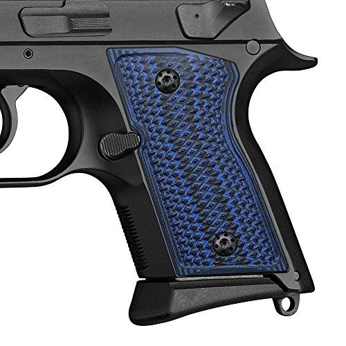 Black Diamond Cut Grip (G10 Grips for CZ 2075 RAMI, Checker Diamond Cut, Cool Hand Brand, Blue/Black)