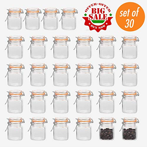 Glass Gift Jar - Encheng 4 oz Glass Jars With Airtight Lids And Leak Proof Rubber Gasket,Small Mason Jars With Hinged Lids For Kitchen, Mini Spice Jars With Twine And Tags Labeling 30 Pack