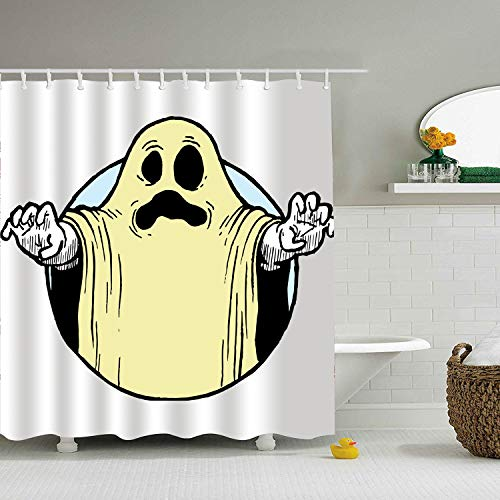 XPNiao Shower Curtain Halloween Ghost Costume 3D Print Mom Gift Ideas Polyester Fabric Hooks Included, Multi, for $<!--$23.90-->
