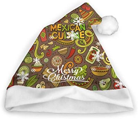 Enhusk Doodle de Comida Mexicana Sombrero de Santa para Adultos Gorro de Navidad Fiesta de Adultos Año Nuevo Decoración de día de Navidad Sombreros de Fiesta para niños Sombreros de Fiesta para