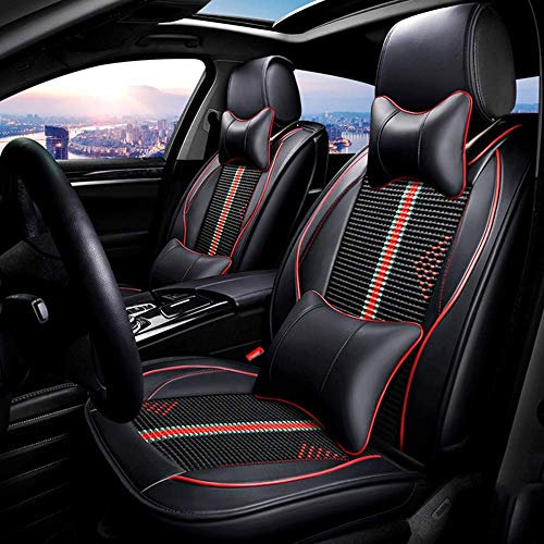 PU Leather Ice-Silk Car Seat Cover- Anti-Slip Suede Backing Universal Fit Car Seat Cushion for Both Fabric And Leather Car Seats,Black: