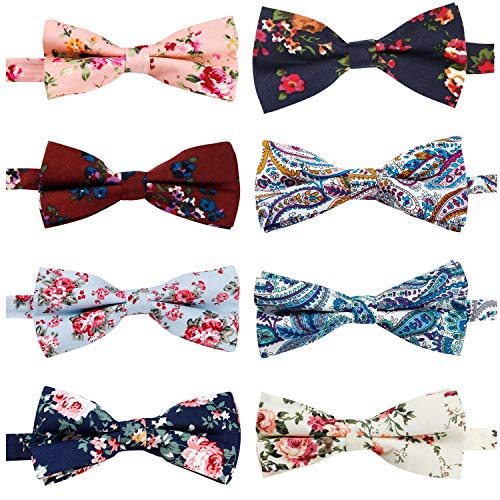 Bow Floral Tie - 8 Pcs Elegant Floral Pre-tied Bow ties Formal Tuxedo Bowtie Set with Adjustable Neck Band,Gift Idea For Men And Boys (8 Pcs)