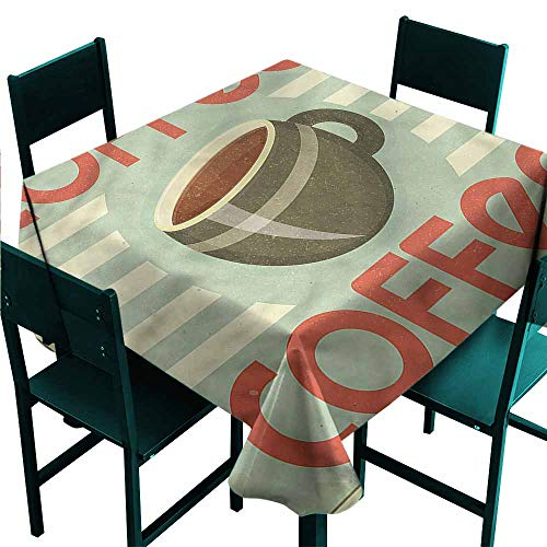 - DONEECKL Easy Care Tablecloth Coffee Retro Design Menu Artwork and Durable W50 xL50