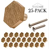 Hexagon Cabinet Knob Hardware | Solid Stainless Steel | Pack of 25 (Brushed Brass)
