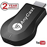 Anycast WiFi Display Dongle Receiver 1080P HDMI TV Stick Miracast Media Streamer for Phone Screen Mirroring to TV Support Miracast & Airplay & DLNA (A1)