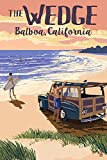 Balboa Island, California - The Wedge - Woody on the Beach (16x24 Giclee Gallery Print, Wall Decor Travel Poster)