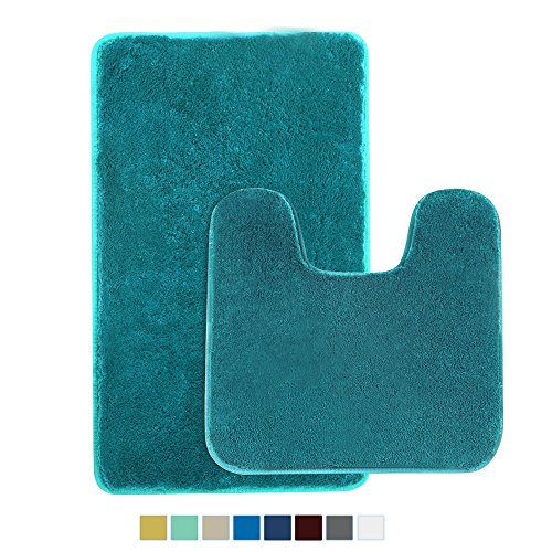 2 Piece Shaggy Bathroom Rug Set, Seavish Non Slip Microfiber