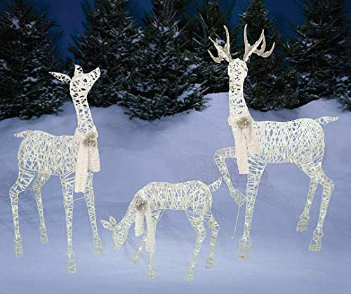 """Set of 3 Lighted White Gold Deer Family (Buck 60"""", Doe 52"""", Fawn 28"""") - Total of 360 LIGHTS, Reindeer Display Outdoor Holiday Yard Decoration"""