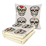 Quilt Dual-Use Pillow Skull Set of Ethnic Mexican Skulls with Heart and Flower Motifs Calavera Day of The Dead Print Multifunctional Air-Conditioning Quilt Multi