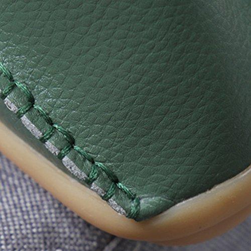 Mocasines Mujer Ejercito Casual de Cuero Verde Zapatillas Bowknot con Piso Zapatos Loafers Heheja 6w5UqO6