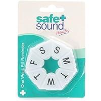 Safe and Sound Round Pocket Sized 7 Day Pill Box, Pop-open-catch lids