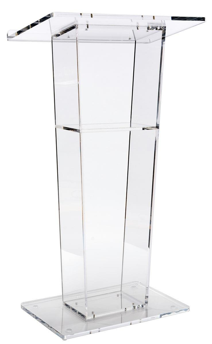 Lectern Podium, Clear Acrylic, 47 Inch Tall with Inner Shelf, Rubber Feet, 26.5 x 15.8 Inch Top Surface by Displays2go