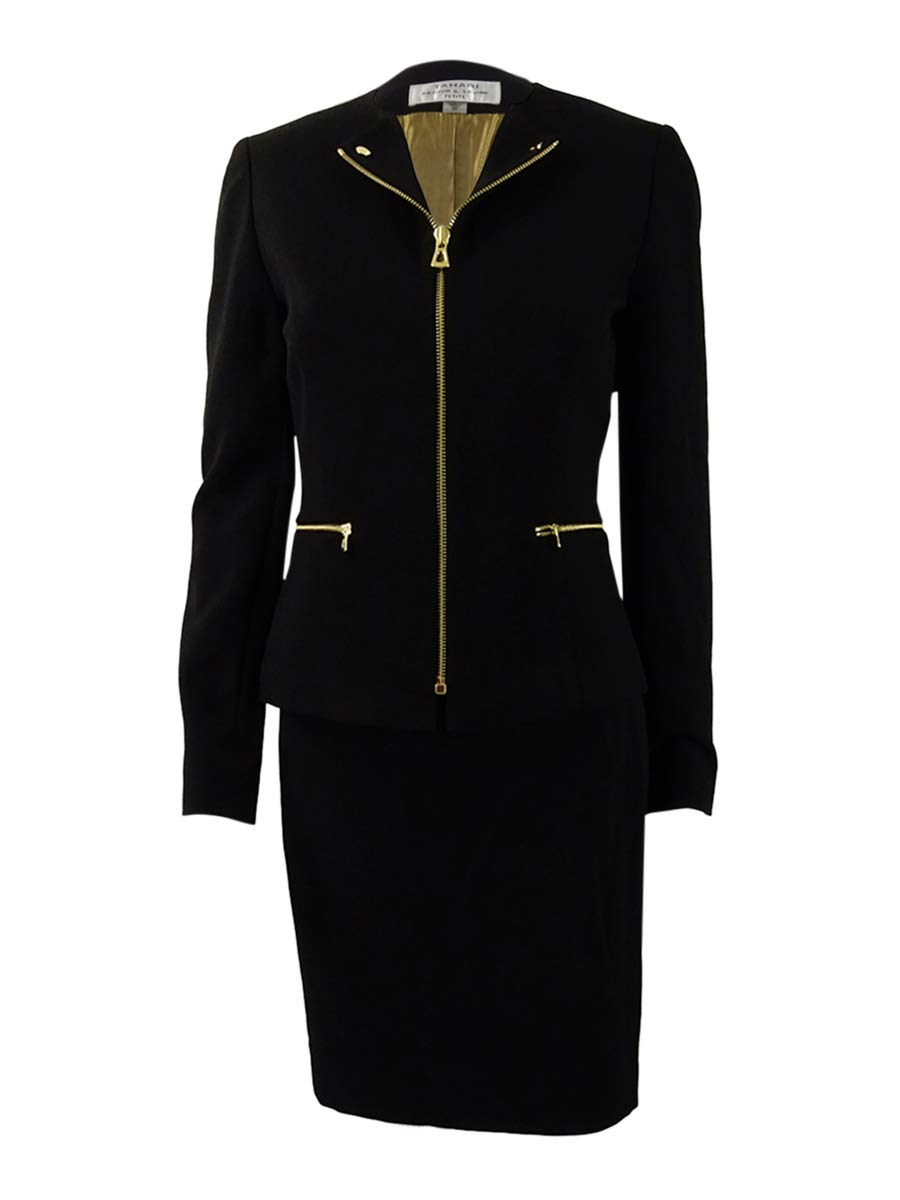 Tahari ASL Women's Petite Zip-Front Moto Skirt Suit (0P, Black)