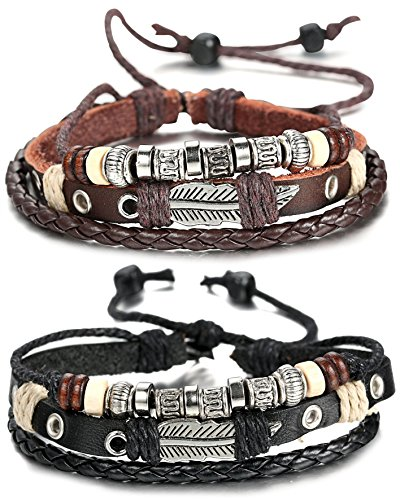 Sailimue 2 Pcs Braided Leather Bracelet for Men Cuff Bracelet 7.6-11 inches