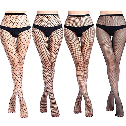 Amandir 4-5 Pairs Fishnet Stockings Womens Lace Mesh Patterned Fishnet Tights Leggings Sexy Net Pantyhose