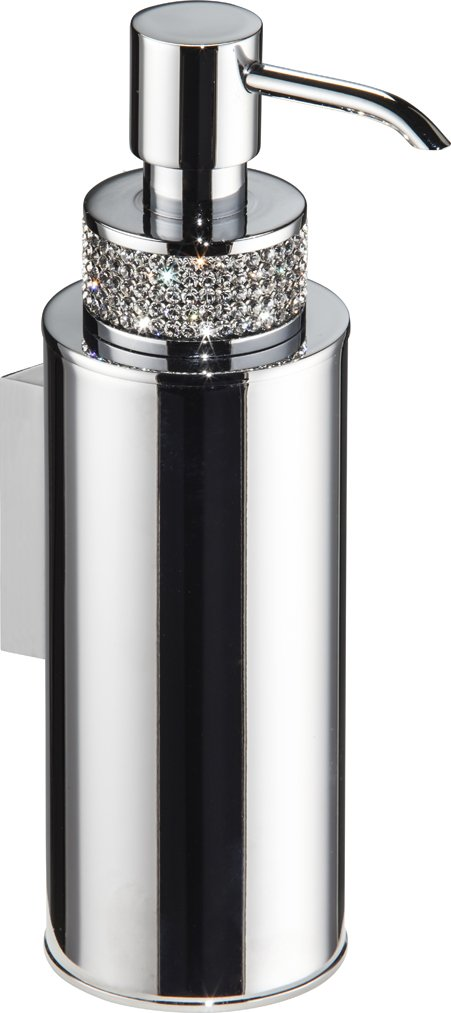 Carmen Wall Soap Dispenser Set with Swarovski Crystal, Brass Polished Chrome, Wall Maunted, Bathroom Accessories, Made in Spain (European Brand)