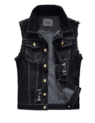 Black Jacket Vest (Idopy Men`s Retro Ripped Denim Jeans Vest Sleeveless Jacket (US M(Tag 4XL), Black))