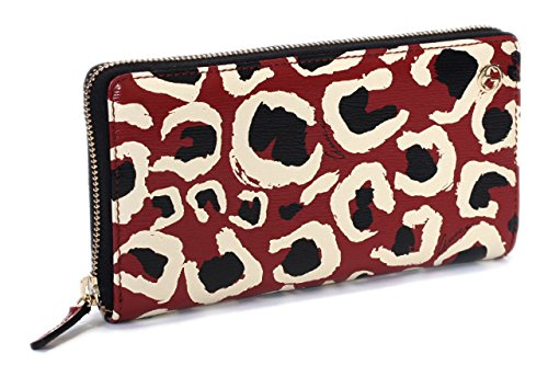 Gucci Leopard Red Black Interlocking Gg Logo Leather Zip Around Wallet by Gucci
