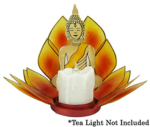 2 Layered Capiz Lotus Tea Light Candle Holder with Buddah - Two Tones Orange and Yellow - For Home Decor, Parties, and Wedding (Opalescent Spiral)