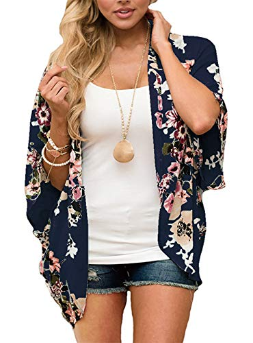 RJXDLT Womens Floral Print Kimono Cardigan Loose Puff Sleeve Cardigans Patchwork Cover Up Blouse Top Navy Blue S 216