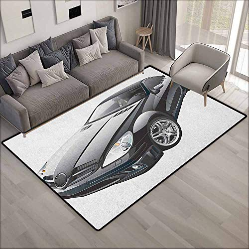Living Room Area Rug,Cars Black Modern Sport Car Drive Transportation Automobile Front View Collectors,Ideal Gift for Children,4'7