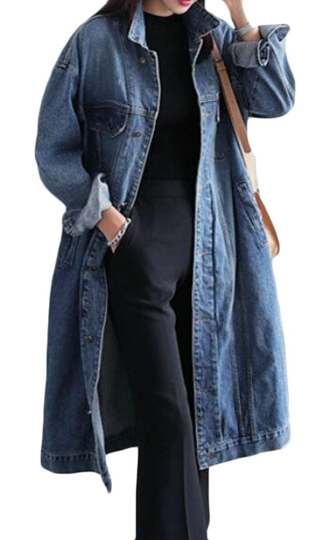 GRMO Women Mid Length Lapel Button up Denim Baggy Vogue Top Coat