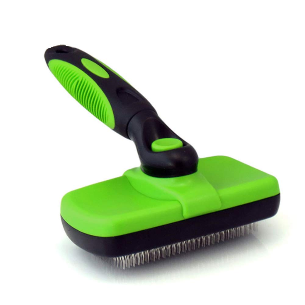 Green Self Cleaning Pet Cat Brush, Pet Dog & Cat Grooming Brush,for Large to Small Dog Or Cat with Short to Long Hair,Green