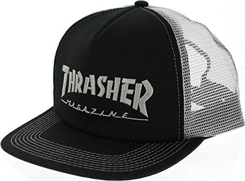 Thrasher Magazine Logo Embroidered Black / Silver Mesh Trucker Hat - Adjustable - Skate Cap Hat