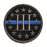 Round Three Percenter 'Threeper' Thin Blue Line Tactical Morale Patch