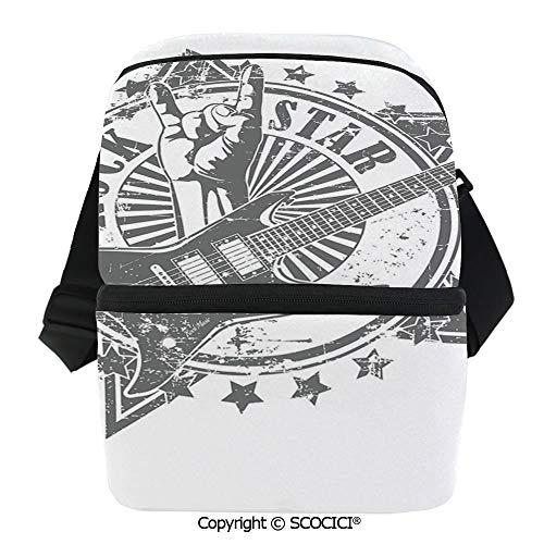 (SCOCICI Insulated Lunch Cooler Bag Stars with Rock Sign Monochrome Musical Instrument Design Rockstar Life Singing Reusable Lunch for Men Women Heat Insulation,Heat Protection)