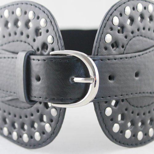 Black Brown Pu Leather Silver Plated Buckle Elastic Belts
