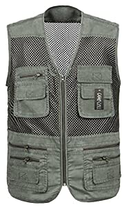 Camo coll men 39 s mesh fly fishing vest for Fishing vest amazon