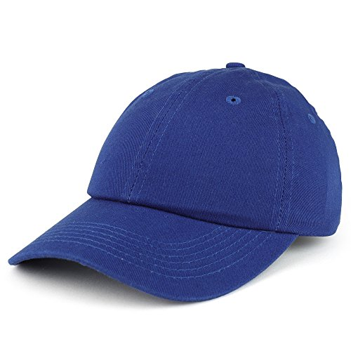 Bio Washed Unstructured Cap - Trendy Apparel Shop Youth Small Fit Bio Washed Unstructured Cotton Baseball Cap - Royal