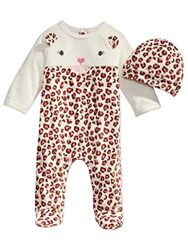 First Impressions Infant Girl 2 PC Plush Leopard Jumpsuit Sleeper Hat Outfit 6-9m Ivory