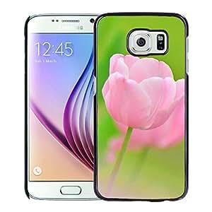 Hot Sale Samsung Galaxy S6 Cover Case ,Pink Tulip Flower Macro Black Samsung Galaxy S6 Phone Case Unique And Fashion Design