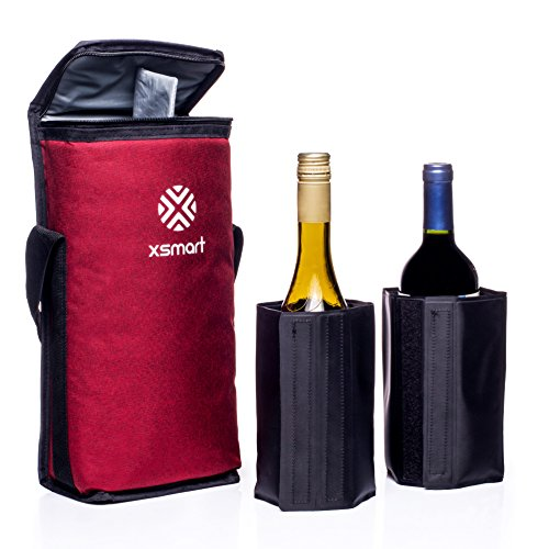 XSmart Slim Cooler Bag With Two Multifunction Ice Liquid/Bottle Coolers For Backpacks And Golf Bags Long Lasting Cold Beer and Wine Outdoor Storage Insulated and Waterproof, Soft and Foldable (Red) by XSmart