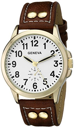 (Geneva Men's 2421B-GEN Gold-Tone Watch with Brown Faux Leather Band)