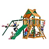 Chateau Cedar SwingSet w/ Timber Shield, Wave Slide, Rock Climbing Wall, Two Swings, Ring/Trapeze Bar and Picnic Table, from Gorilla Playsets