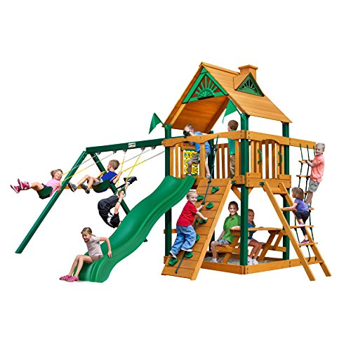 Chateau Cedar SwingSet w/Timber Shield, Wave Slide, Rock Climbing Wall, Two Swings, Ring/Trapeze Bar and Picnic Table, from Gorilla Playsets Cedar Rock