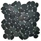 Sliced Charcoal Black Pebble Tile 1 sq.ft. (Mesh Mounted)
