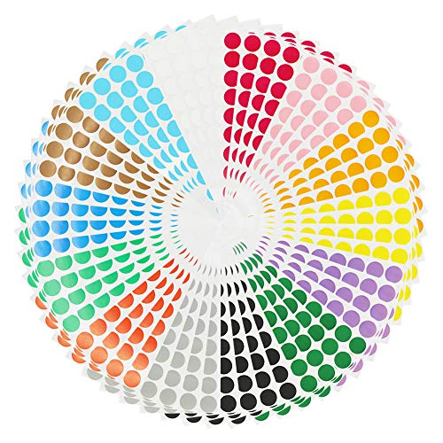 Color Coding Labels 2240pcs 3/4'' Round Self-Adhesive Removable Colored Circle Dot Stickers 14 Bright Neon Colors