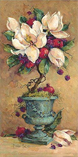 Magnolia Cluster Topiary 2 by Barbara Mock Laminated Art Print, 7 x 14 inches