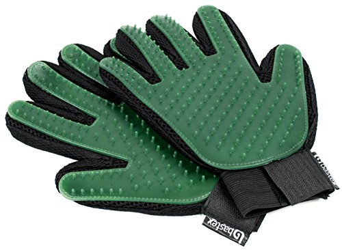 Bastex Pet Grooming Gloves in Green. Gentle Deshedding Brush Glove. Great for Cats and Dogs with Long and Short Fur…