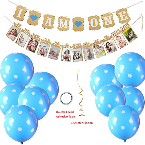 "Baby First Birthday Decorations-14 Pieces Banner""I AM ONE""and 1-12 Months Photo DIY Banner for Baby Boy 1st Birthday Party Supply-I AM ONE Banner,1-12 Month Photo Prop Garland,10 Latex Balloons"